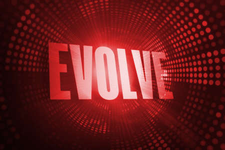 evolve: The word evolve against red pixel spiral