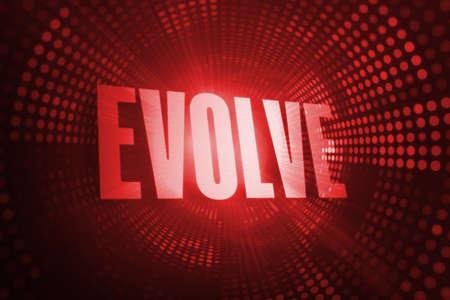 evolve: The word evolve against red pixel spiral