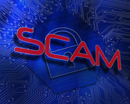 proportionate: The word scam against lock graphic on blue background LANG_EVOIMAGES