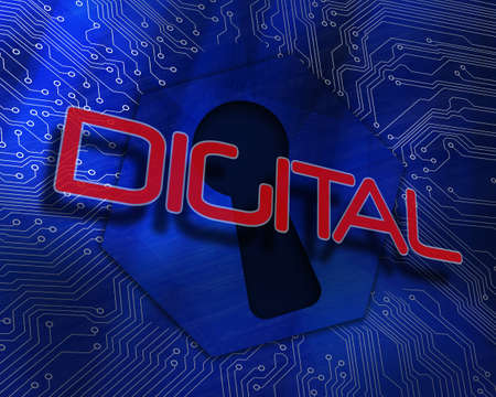The word digital against keyhole graphic on blue background
