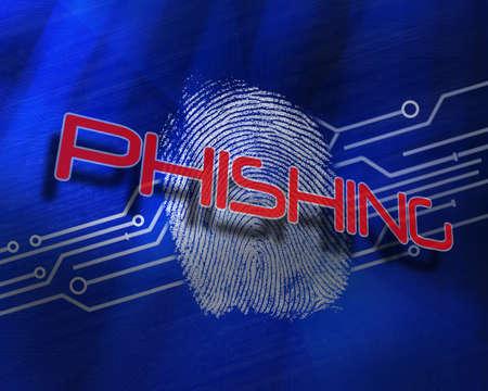 proportionate: The word phishing against fingerprint on digital blue background LANG_EVOIMAGES