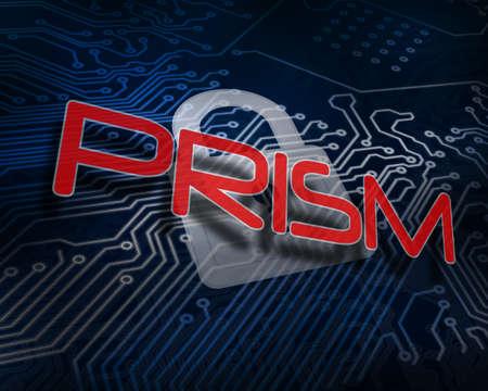 prisma: La palabra prisma contra candado digital en blanco sobre placa de circuito LANG_EVOIMAGES