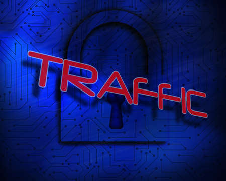 The word traffic against lock on digital background