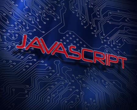 javascript: The word javascript against blue technology background