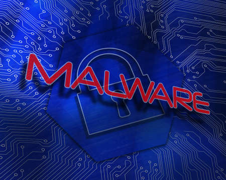 The word malware against lock graphic on blue background
