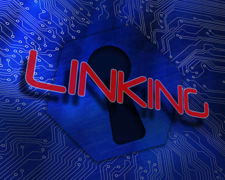 linking: The word linking against keyhole graphic on blue background LANG_EVOIMAGES