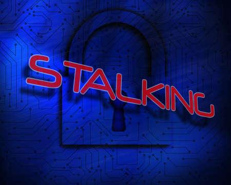 proportionate: The word stalking against lock on digital background LANG_EVOIMAGES