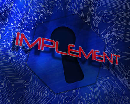 The word implement against keyhole graphic on blue background LANG_EVOIMAGES