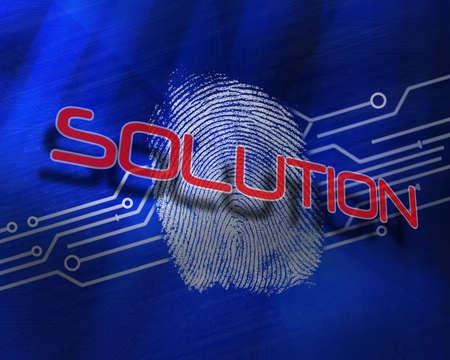 proportionate: The word solution against fingerprint on digital blue background LANG_EVOIMAGES