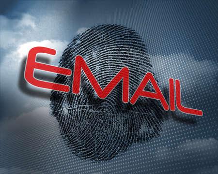 odcisk kciuka: The word email against fingerprint in sky LANG_EVOIMAGES