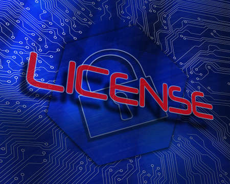 The word license against lock graphic on blue background