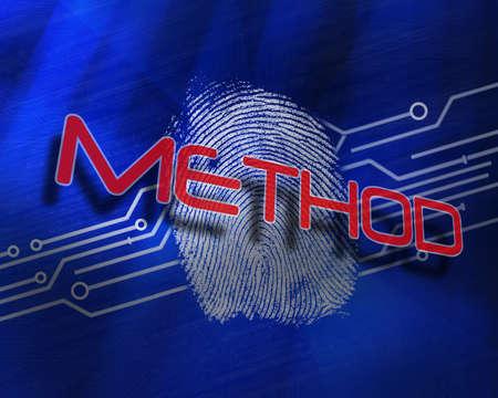 proportionate: The word method against fingerprint on digital blue background LANG_EVOIMAGES