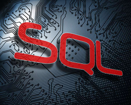 sql: The word sql against illustration of circuit board LANG_EVOIMAGES