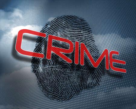 odcisk kciuka: The word crime against fingerprint in sky
