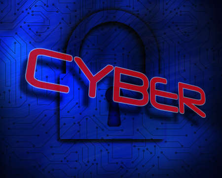 proportionate: The word cyber against lock on digital background