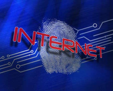 proportionate: The word internet against fingerprint on digital blue background