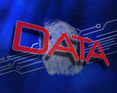 proportionate: The word data against fingerprint on digital blue background