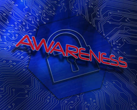 proportionate: The word awareness against lock graphic on blue background LANG_EVOIMAGES