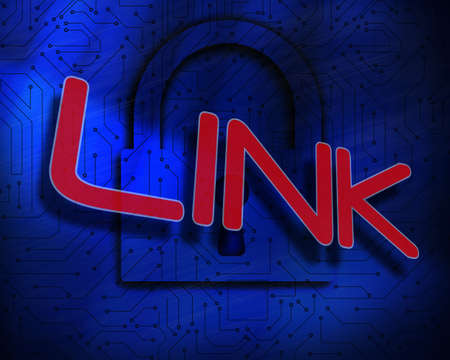 proportional: The word link against lock on digital background