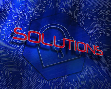 The word solutions against lock graphic on blue background