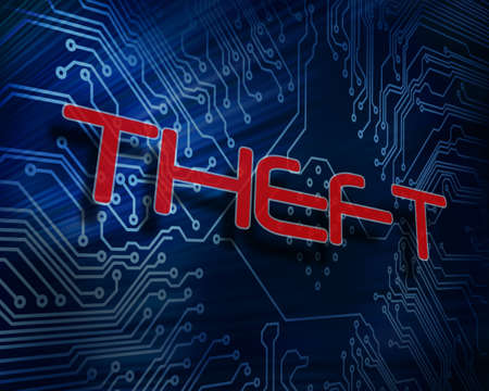 stolen identity: The word theft against digital circuit board