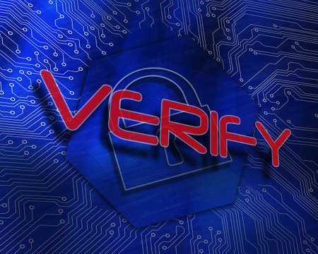 The word verify against lock graphic on blue background LANG_EVOIMAGES