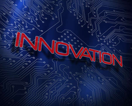 proportionate: The word innovation against blue technology background