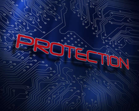 proportionate: The word protection against blue technology background