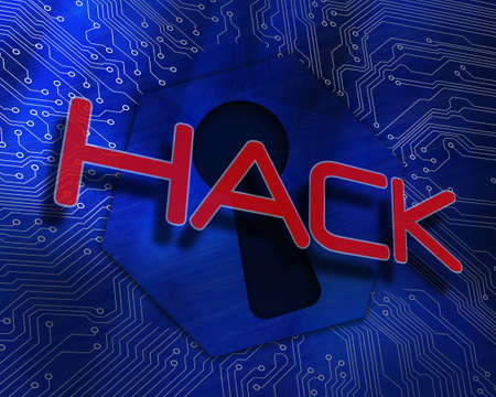 proportionate: The word hack against keyhole graphic on blue background LANG_EVOIMAGES