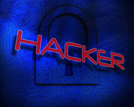 proportionate: The word hacker against lock on digital background LANG_EVOIMAGES