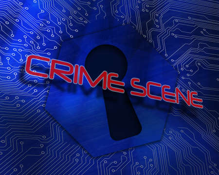 proportional: The word crime scene against keyhole graphic on blue background