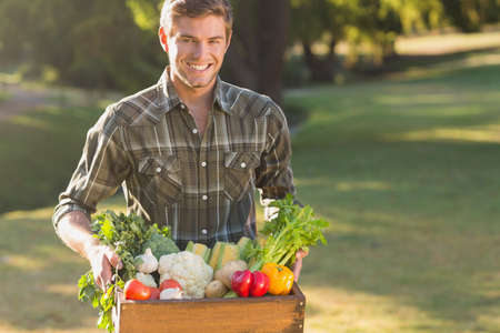 man carrying box: Smiling man carrying box of vegetables in the park LANG_EVOIMAGES