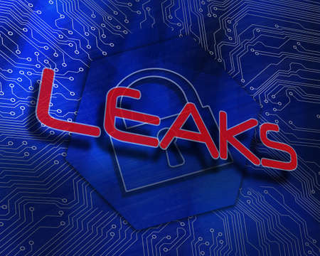 proportionate: The word leaks against lock graphic on blue background LANG_EVOIMAGES