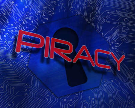 The word piracy against keyhole graphic on blue background