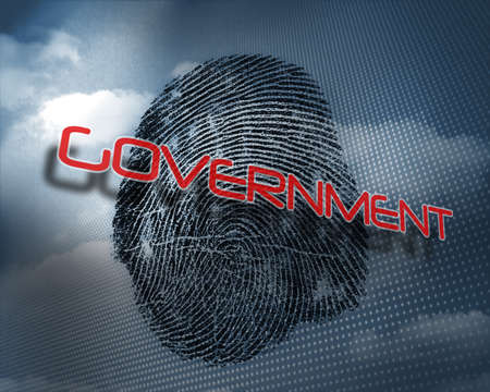 odcisk kciuka: The word government against fingerprint in sky