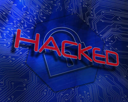 hacked: The word hacked against lock graphic on blue background