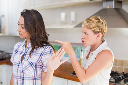 dispute: Angry lesbian couple facing a dispute and finger pointing LANG_EVOIMAGES