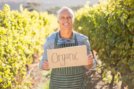 farmer sign: Portrait of a smiling farmer holding an organic sign LANG_EVOIMAGES