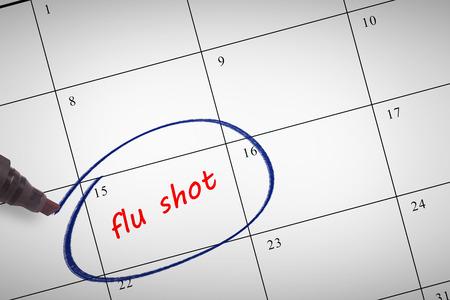 flu shots: Black marker against flu shots