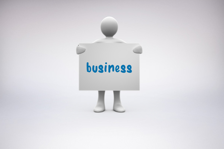 representation: The word business and human representation holding blank billboard against grey background