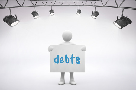 single word: The word debts and spotlights  against grey background