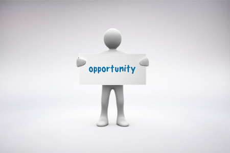human representation: The word opportunity  and human representation holding blank placard against grey background