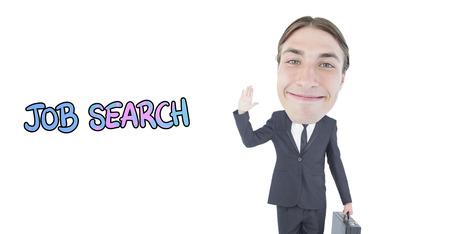 geeky: Geeky businessman waving against job search