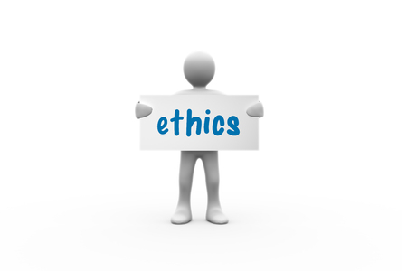 moral: The word ethics  and human representation holding blank placard against white background with vignette Stock Photo