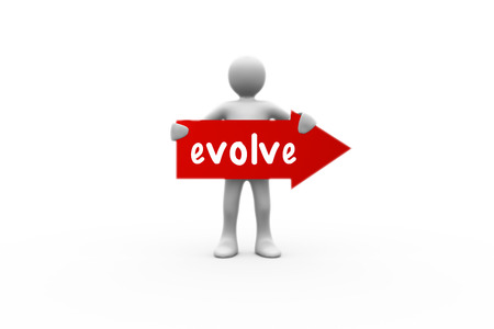 evolve: The word evolve and human representation holding red arrow sign against white background with vignette