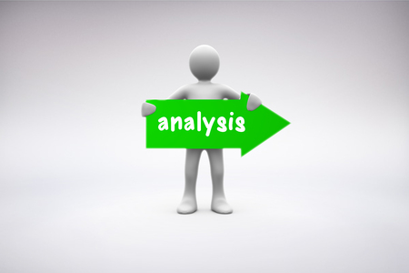 representation: The word analysis and human representation holding green arrow sign against grey background Stock Photo