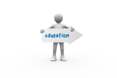 human representation: The word education and human representation holding arrow sign against white background with vignette