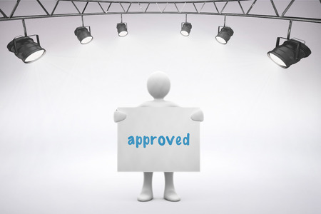 The word approved and spotlights  against grey background