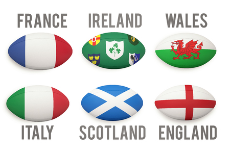 Six nations rugby balls with nations flags on them