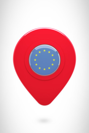 european union: Close-up of map marker against european union flag Stock Photo